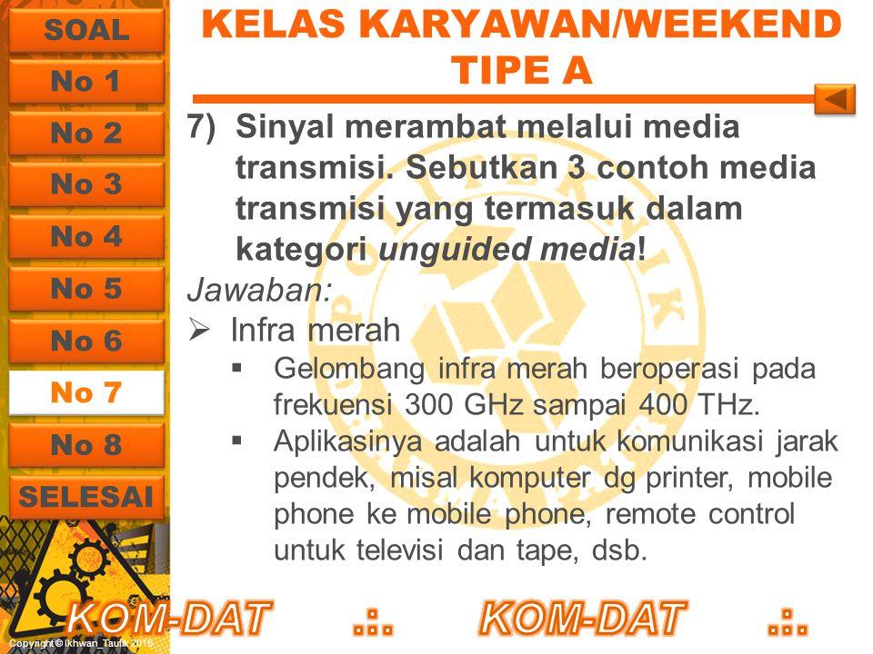 Copyright © Ikhwan_Taufik 2015 KELAS KARYAWAN/WEEKEND TIPE A 7)Sinyal merambat melalui media transmisi. Sebutkan 3 contoh media transmisi yang termasu