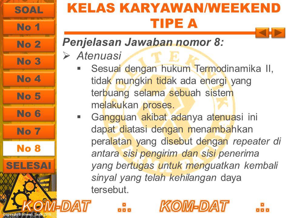 Copyright © Ikhwan_Taufik 2015 KELAS KARYAWAN/WEEKEND TIPE A Penjelasan Jawaban nomor 8:  Atenuasi  Sesuai dengan hukum Termodinamika II, tidak mung