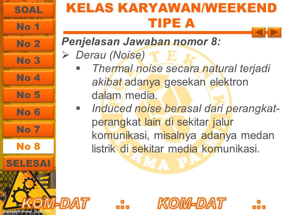 Copyright © Ikhwan_Taufik 2015 KELAS KARYAWAN/WEEKEND TIPE A Penjelasan Jawaban nomor 8:  Derau (Noise)  Thermal noise secara natural terjadi akibat