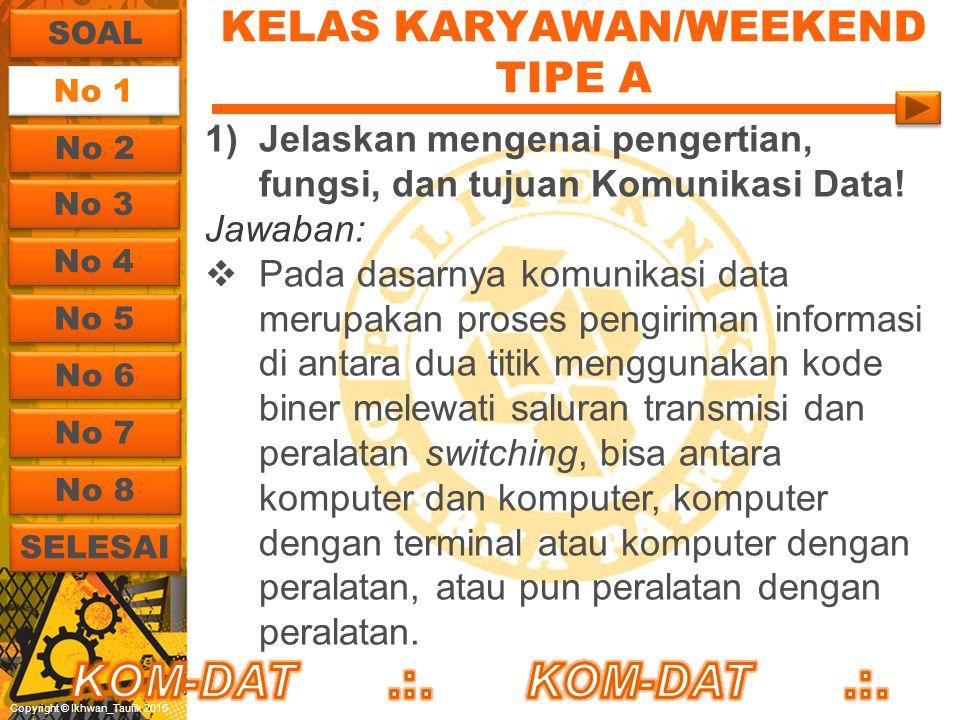 Copyright © Ikhwan_Taufik 2015 KELAS KARYAWAN/WEEKEND TIPE A 1)Jelaskan mengenai pengertian, fungsi, dan tujuan Komunikasi Data! Jawaban:  Pada dasar