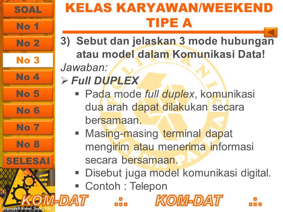 Copyright © Ikhwan_Taufik 2015 KELAS KARYAWAN/WEEKEND TIPE A 3)Sebut dan jelaskan 3 mode hubungan atau model dalam Komunikasi Data! Jawaban:  Full DU