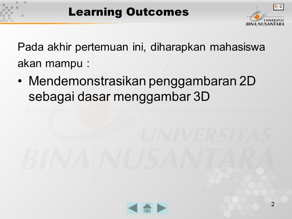 2 Learning Outcomes Pada akhir pertemuan ini, diharapkan mahasiswa akan mampu : Mendemonstrasikan penggambaran 2D sebagai dasar menggambar 3D