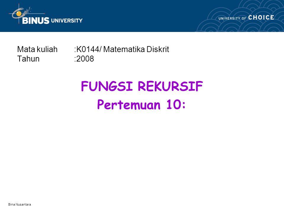 Bina Nusantara Fungsi Rekursif Fungsi yang berisi definisi dirinya sendiri Fungsi yang memanggil dirinya sendiri Prosesnya terjadi secara berulang-ulang Yang perlu diperhatikan adalah stopping role