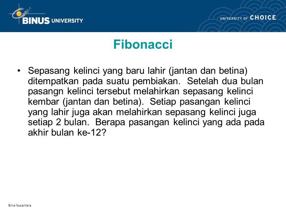 Bina Nusantara Fibonacci Sepasang kelinci yang baru lahir (jantan dan betina) ditempatkan pada suatu pembiakan.