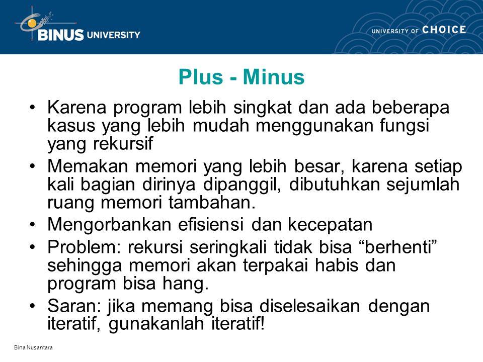 Bina Nusantara Plus - Minus Karena program lebih singkat dan ada beberapa kasus yang lebih mudah menggunakan fungsi yang rekursif Memakan memori yang lebih besar, karena setiap kali bagian dirinya dipanggil, dibutuhkan sejumlah ruang memori tambahan.