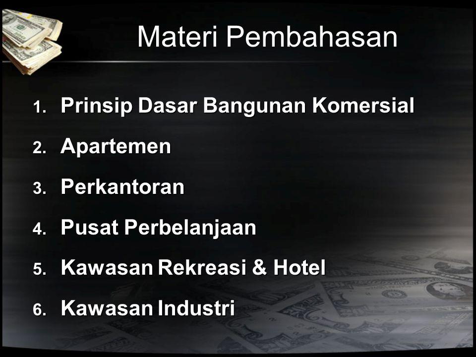 Materi Pembahasan 1. Prinsip Dasar Bangunan Komersial 2. Apartemen 3. Perkantoran 4. Pusat Perbelanjaan 5. Kawasan Rekreasi & Hotel 6. Kawasan Industr
