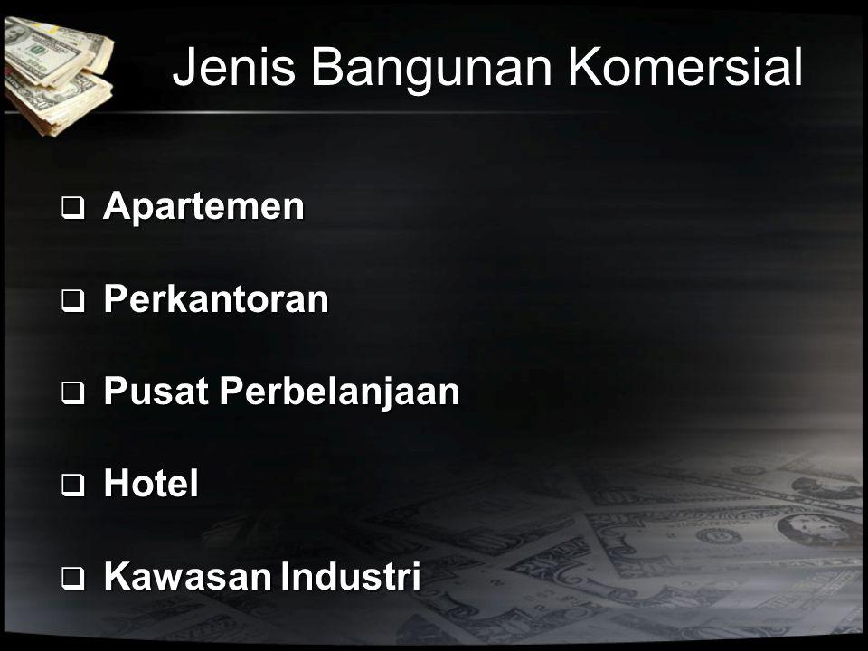 Jenis Bangunan Komersial  Apartemen  Perkantoran  Pusat Perbelanjaan  Hotel  Kawasan Industri