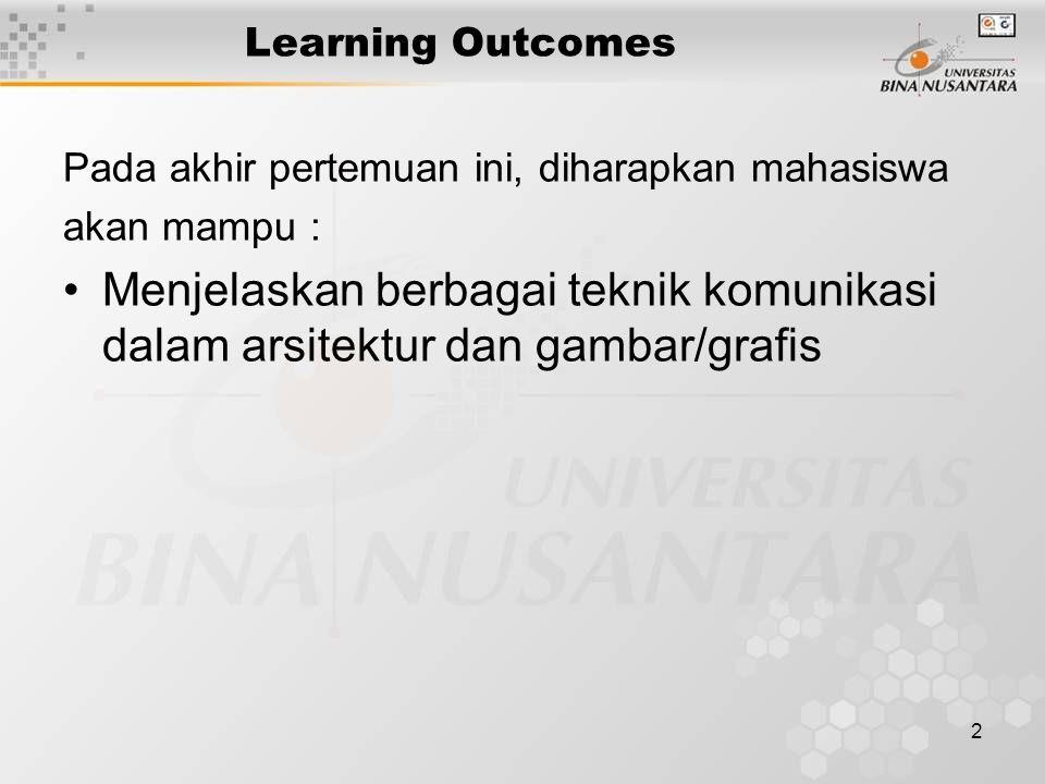 2 Learning Outcomes Pada akhir pertemuan ini, diharapkan mahasiswa akan mampu : Menjelaskan berbagai teknik komunikasi dalam arsitektur dan gambar/gra