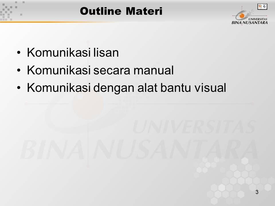 3 Outline Materi Komunikasi lisan Komunikasi secara manual Komunikasi dengan alat bantu visual