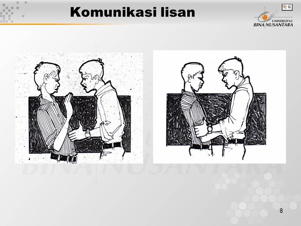 9 Komunikasi secara manual Elemen-elemen penting dari teknik dalam berbicara / presentasi adalah : –P–Persiapan –S–Struktur pembicaraan, dan –I–Interaksi pribadi