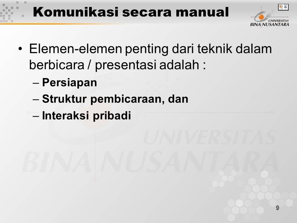 9 Komunikasi secara manual Elemen-elemen penting dari teknik dalam berbicara / presentasi adalah : –P–Persiapan –S–Struktur pembicaraan, dan –I–Intera
