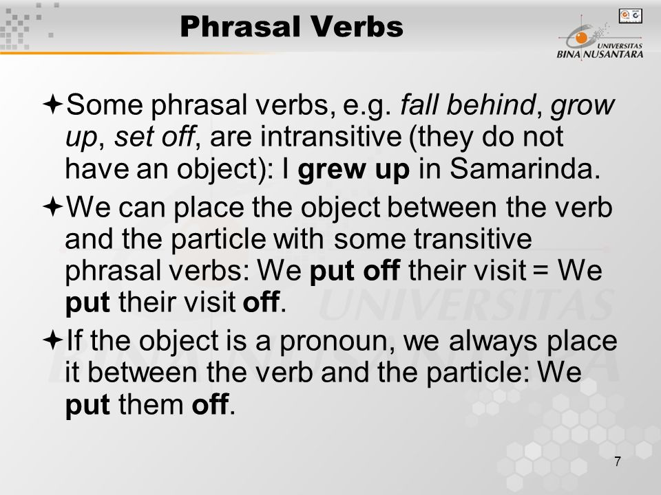 7 Phrasal Verbs  Some phrasal verbs, e.g. fall behind, grow up, set off, are intransitive (they do not have an object): I grew up in Samarinda.  We
