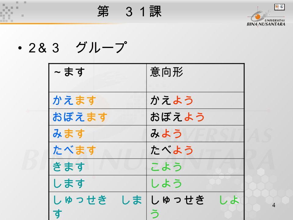 5 第 31課 Digunakan dalam kalimat biasa( 普通形 ) digunakan dalam kalimat biasa/informal dari bentuk ~ましょう れい: 1.じゃ、行こう (ayo, berangkat) 2.