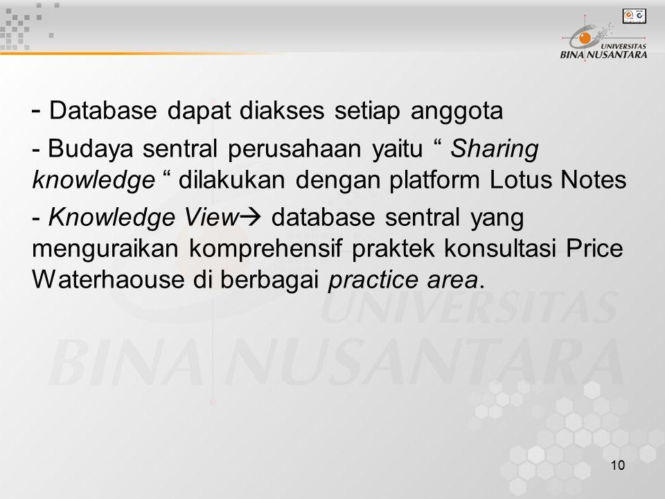 10 - Database dapat diakses setiap anggota - Budaya sentral perusahaan yaitu Sharing knowledge dilakukan dengan platform Lotus Notes - Knowledge View  database sentral yang menguraikan komprehensif praktek konsultasi Price Waterhaouse di berbagai practice area.