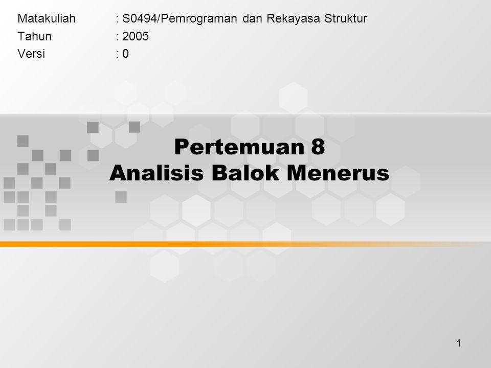 1 Pertemuan 8 Analisis Balok Menerus Matakuliah: S0494/Pemrograman dan Rekayasa Struktur Tahun: 2005 Versi: 0