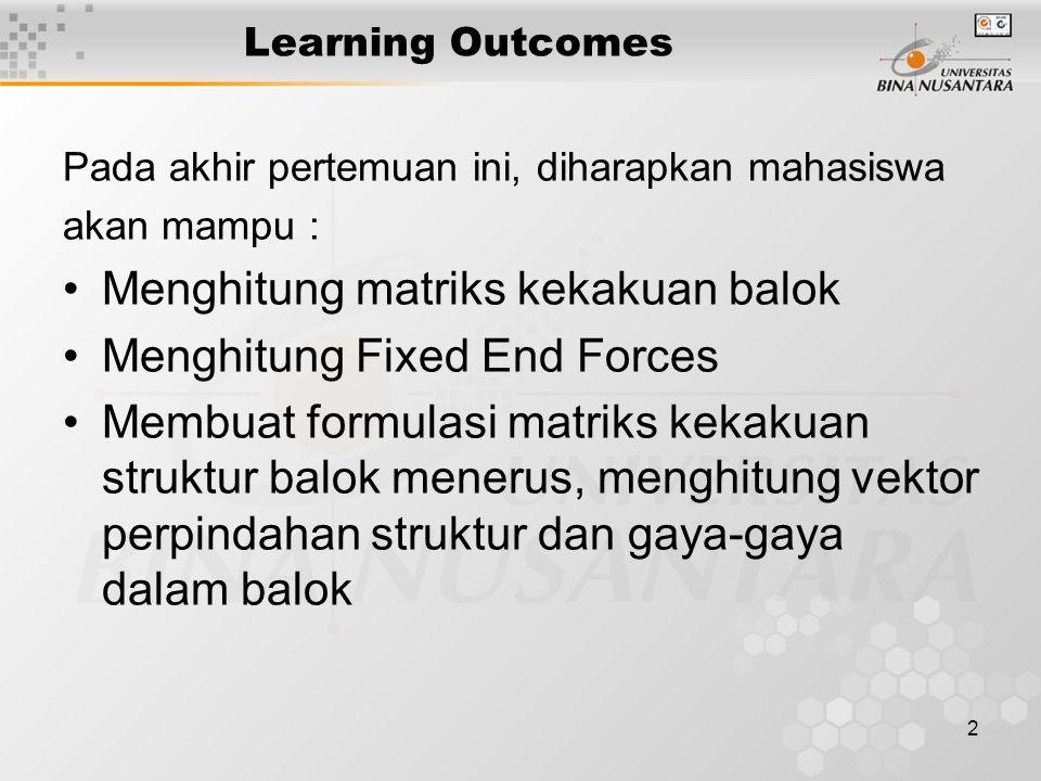 2 Learning Outcomes Pada akhir pertemuan ini, diharapkan mahasiswa akan mampu : Menghitung matriks kekakuan balok Menghitung Fixed End Forces Membuat formulasi matriks kekakuan struktur balok menerus, menghitung vektor perpindahan struktur dan gaya-gaya dalam balok