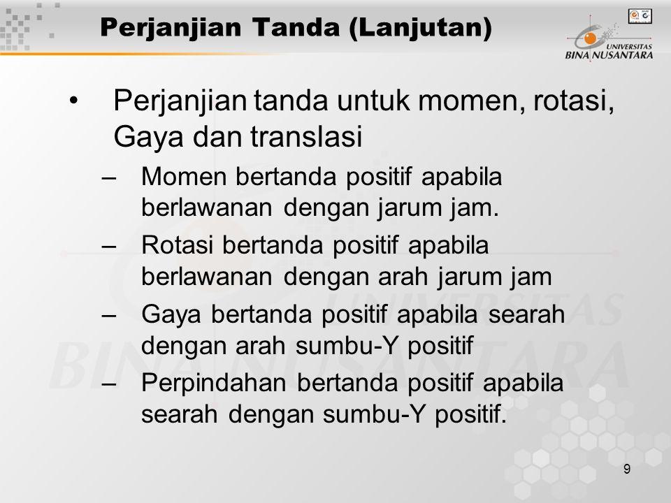 9 Perjanjian Tanda (Lanjutan) Perjanjian tanda untuk momen, rotasi, Gaya dan translasi –Momen bertanda positif apabila berlawanan dengan jarum jam. –R