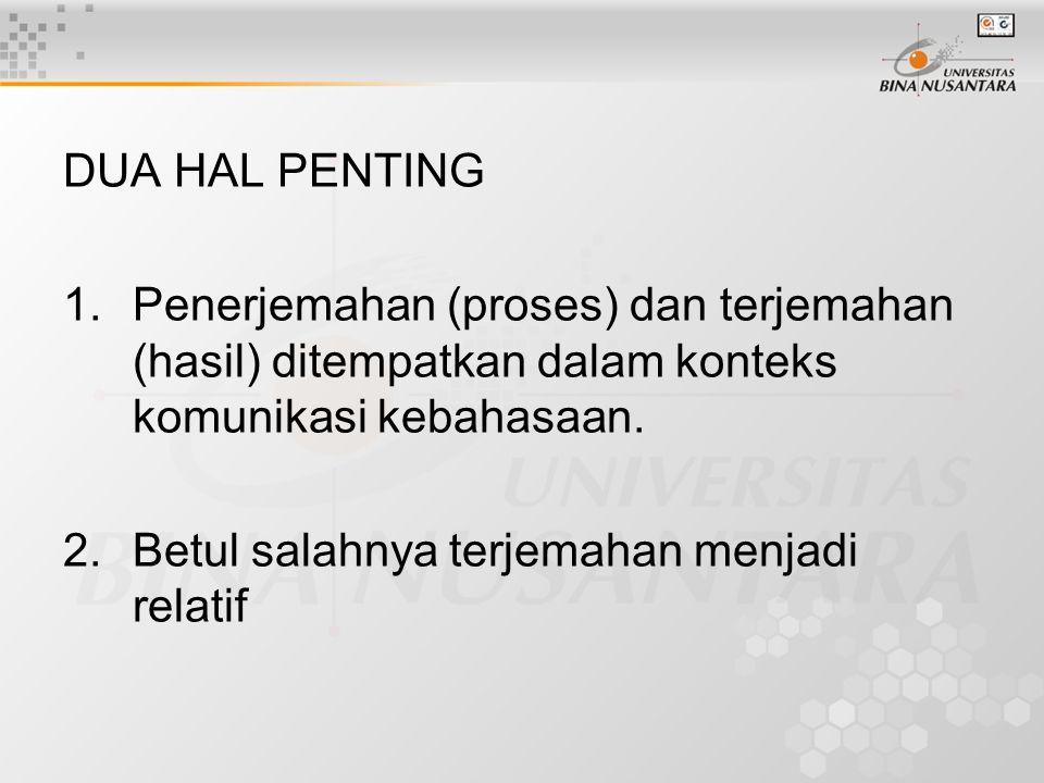 DUA HAL PENTING 1.Penerjemahan (proses) dan terjemahan (hasil) ditempatkan dalam konteks komunikasi kebahasaan.