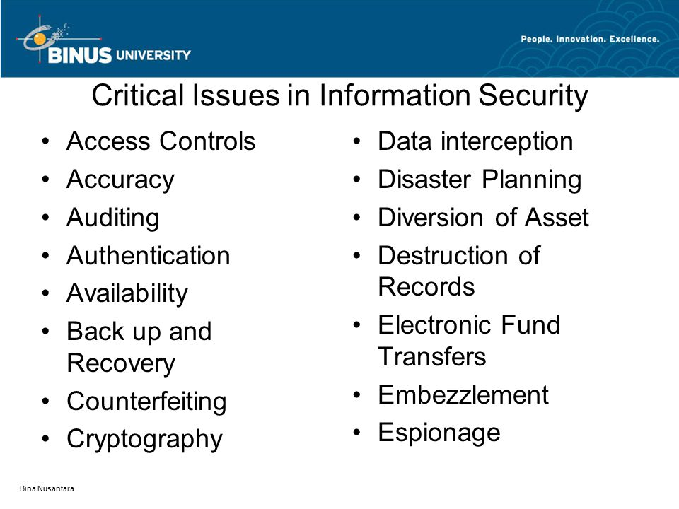 Critical Issues in Information Security Access Controls Accuracy Auditing Authentication Availability Back up and Recovery Counterfeiting Cryptography Data interception Disaster Planning Diversion of Asset Destruction of Records Electronic Fund Transfers Embezzlement Espionage Bina Nusantara