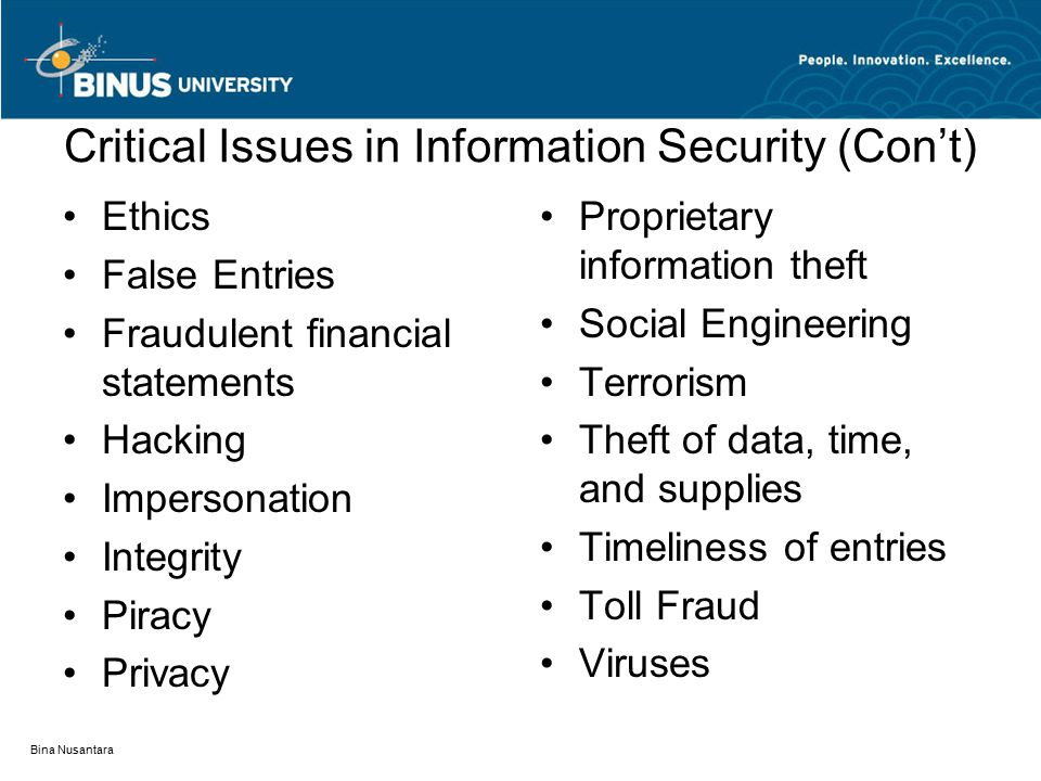 Critical Issues in Information Security (Con't) Ethics False Entries Fraudulent financial statements Hacking Impersonation Integrity Piracy Privacy Pr