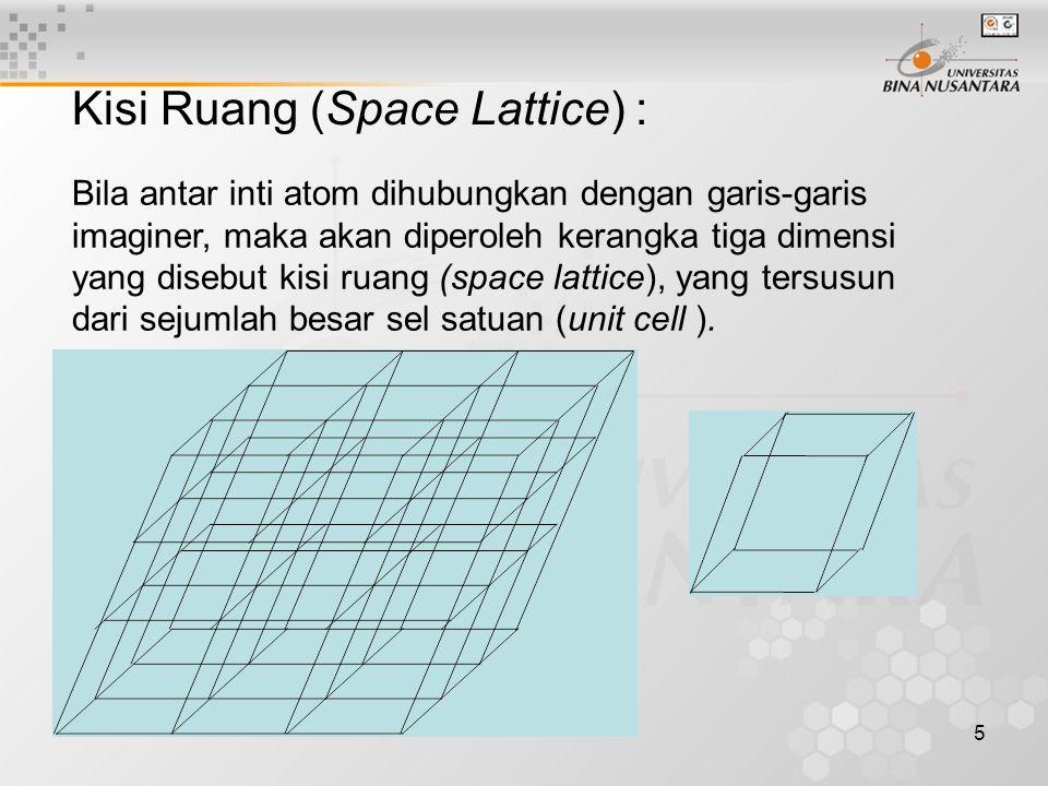 5 Kisi Ruang (Space Lattice) : Bila antar inti atom dihubungkan dengan garis-garis imaginer, maka akan diperoleh kerangka tiga dimensi yang disebut kisi ruang (space lattice), yang tersusun dari sejumlah besar sel satuan (unit cell ).