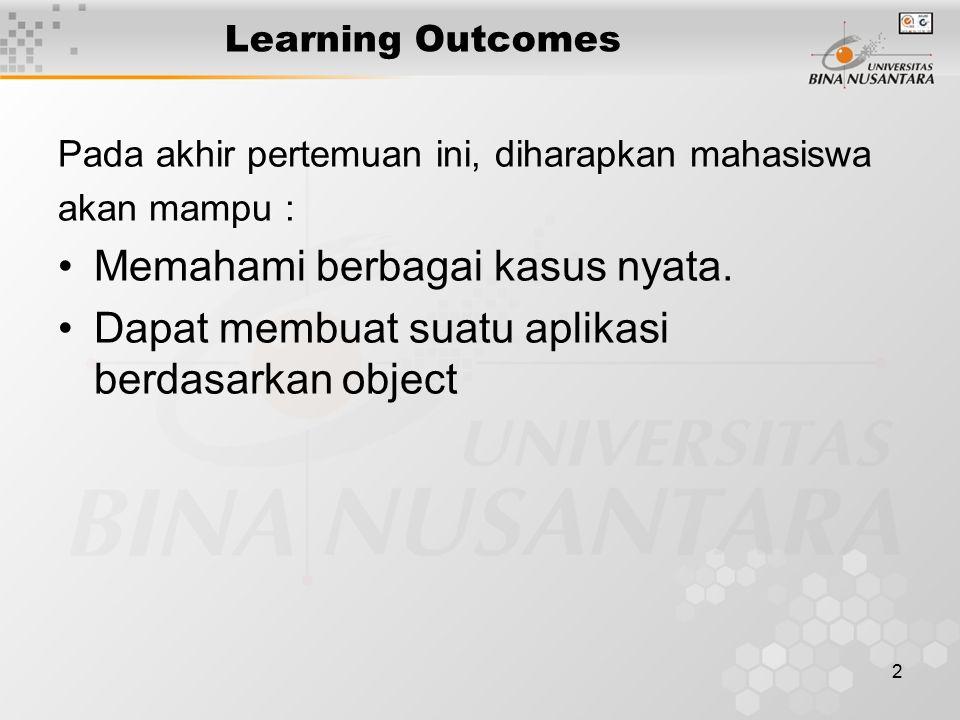2 Learning Outcomes Pada akhir pertemuan ini, diharapkan mahasiswa akan mampu : Memahami berbagai kasus nyata. Dapat membuat suatu aplikasi berdasarka