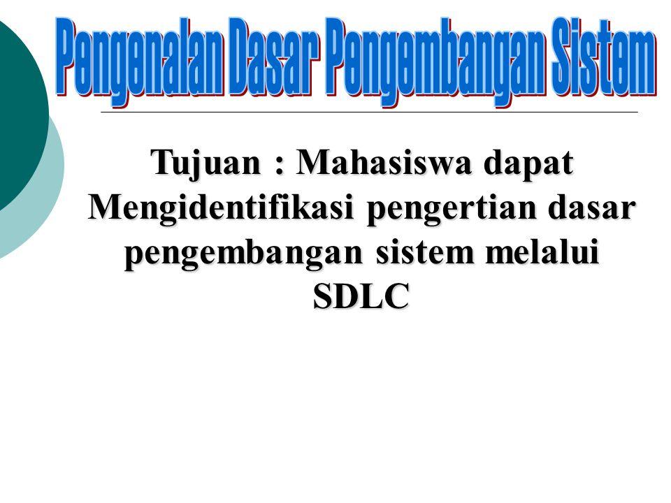 Tujuan : Mahasiswa dapat Mengidentifikasi pengertian dasar pengembangan sistem melalui SDLC