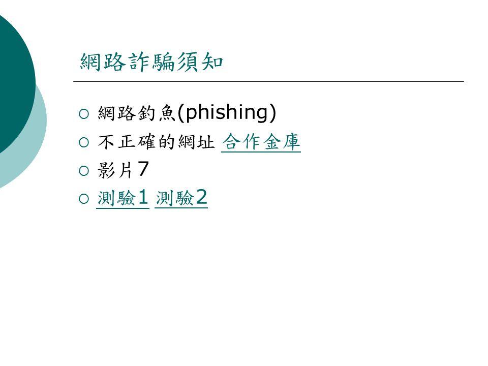 網路詐騙須知  網路釣魚 (phishing)  不正確的網址 合作金庫 合作金庫  影片 7  測驗 1 測驗 2 測驗 1 測驗 2