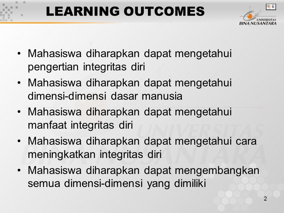 2 LEARNING OUTCOMES Mahasiswa diharapkan dapat mengetahui pengertian integritas diri Mahasiswa diharapkan dapat mengetahui dimensi-dimensi dasar manus