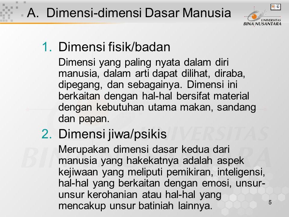5 A.Dimensi-dimensi Dasar Manusia 1.Dimensi fisik/badan Dimensi yang paling nyata dalam diri manusia, dalam arti dapat dilihat, diraba, dipegang, dan sebagainya.