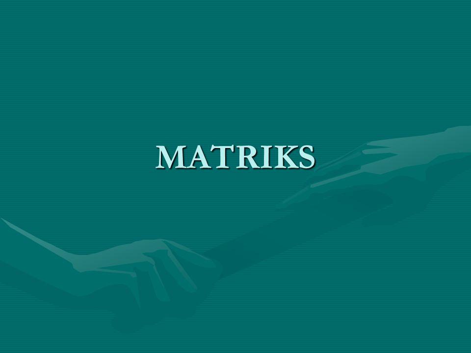 Macam Matriks 1.Matriks Baris 2.Matriks kolom 3.Matriks Nol 4.Matriks Bujur Sangkar 5.Matriks Diagonal 6.Matriks Satuan (I) 7.Matriks Skalar 8.Matriks Segitiga Atas 9.Matriks Segitiga Bawah 10.Matriks Simetris 11.Matriks Simetri Skew 1.a ij = -a ji, dan diagonalnya nol 12.Matriks Tridiagonal 13.Matriks Transpose 14.Matriks Ortogonal 1.Matriks bujur sangkar yg memenuhi [A][A] T = [A] T [A]=[ I ]
