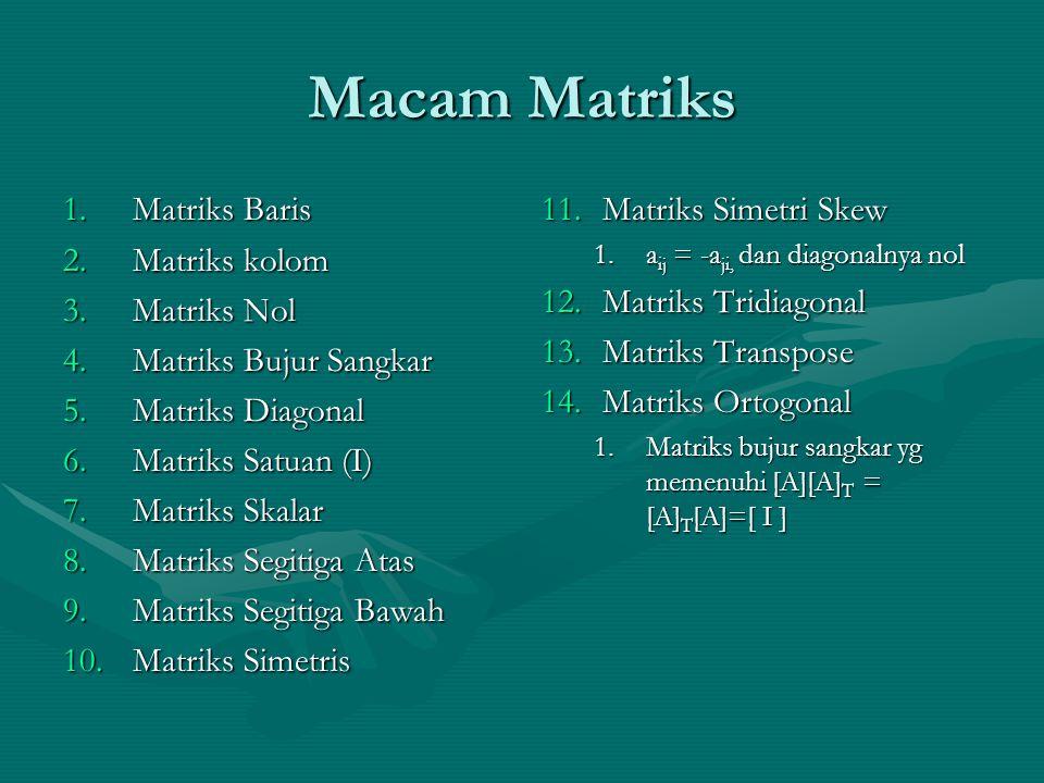 Macam Matriks 1.Matriks Baris 2.Matriks kolom 3.Matriks Nol 4.Matriks Bujur Sangkar 5.Matriks Diagonal 6.Matriks Satuan (I) 7.Matriks Skalar 8.Matriks