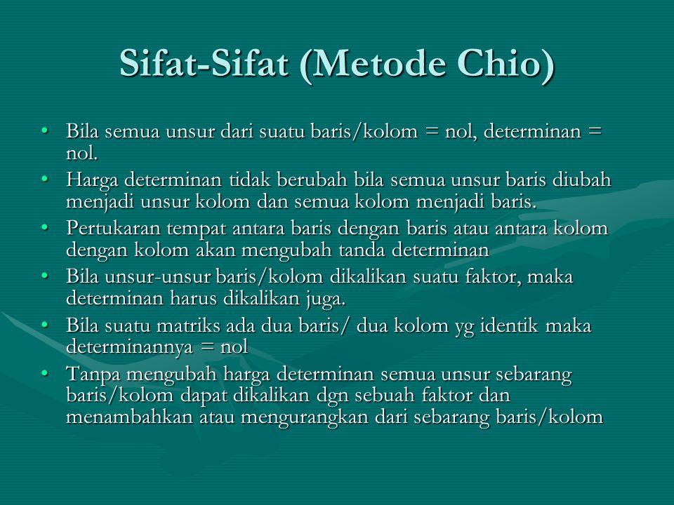 Sifat-Sifat (Metode Chio) Bila semua unsur dari suatu baris/kolom = nol, determinan = nol.Bila semua unsur dari suatu baris/kolom = nol, determinan =