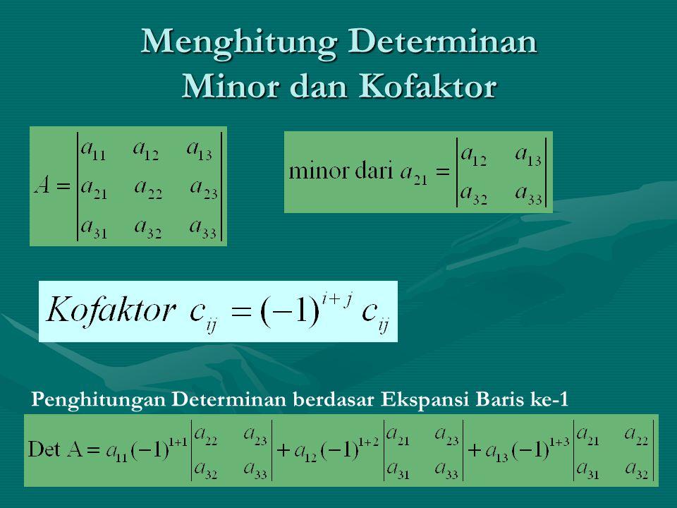Rank (Tingkat) Matriks Jika det matriks ≠ 0, maka rank r = orde matriks (n).Jika det matriks ≠ 0, maka rank r = orde matriks (n).
