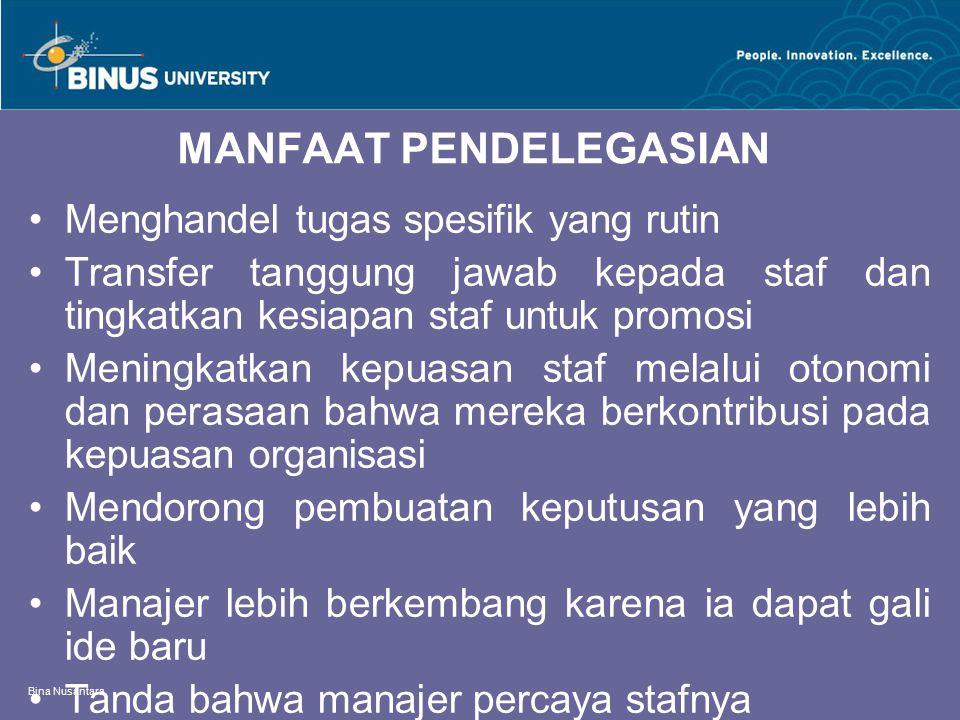 Bina Nusantara MANFAAT PENDELEGASIAN Menghandel tugas spesifik yang rutin Transfer tanggung jawab kepada staf dan tingkatkan kesiapan staf untuk promo