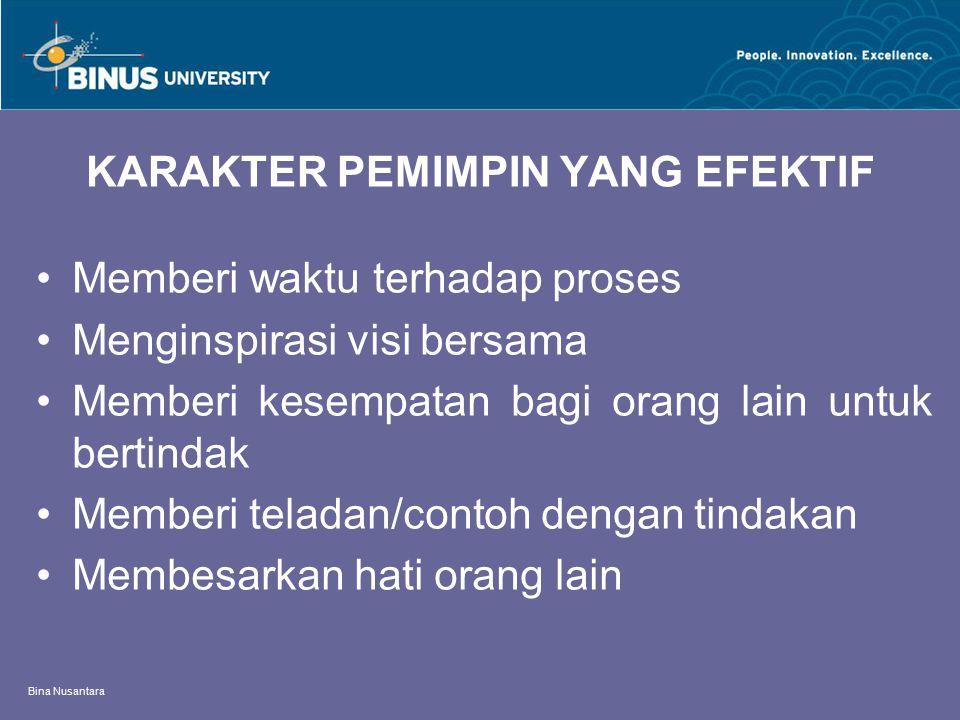 Bina Nusantara KARAKTER PEMIMPIN YANG EFEKTIF Memberi waktu terhadap proses Menginspirasi visi bersama Memberi kesempatan bagi orang lain untuk bertin