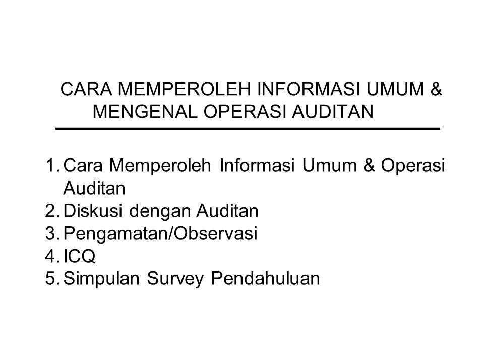 Pertemuan 9 - 10 CARA MEMPEROLEH INFORMASI UMUM & MENGENAL OPERASI AUDITAN 1.Cara Memperoleh Informasi Umum & Operasi Auditan 2.Diskusi dengan Auditan