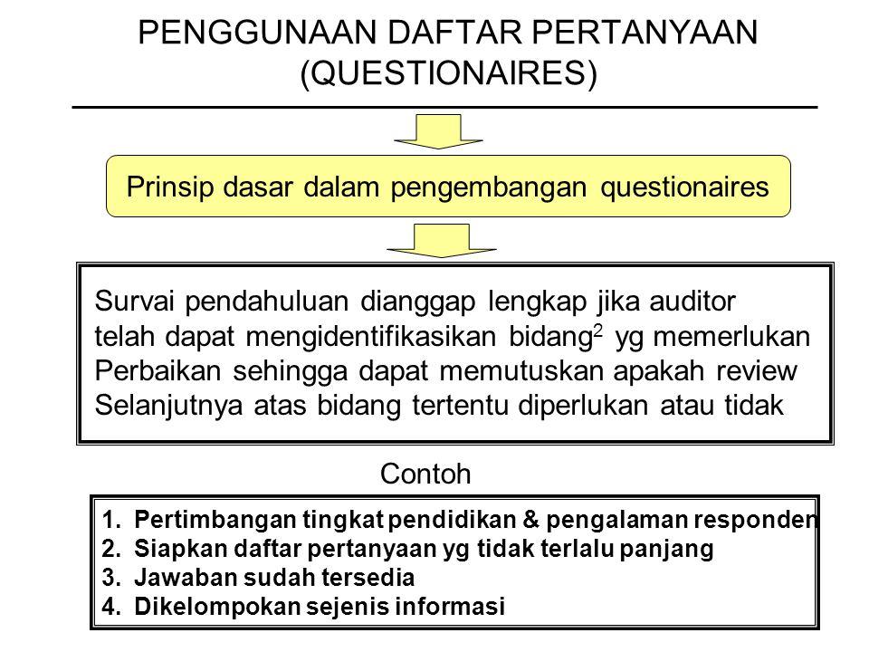 PENGGUNAAN DAFTAR PERTANYAAN (QUESTIONAIRES) Prinsip dasar dalam pengembangan questionaires Survai pendahuluan dianggap lengkap jika auditor telah dap