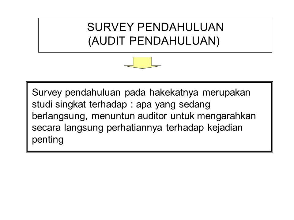 SURVEY PENDAHULUAN (AUDIT PENDAHULUAN) Survey pendahuluan pada hakekatnya merupakan studi singkat terhadap : apa yang sedang berlangsung, menuntun aud