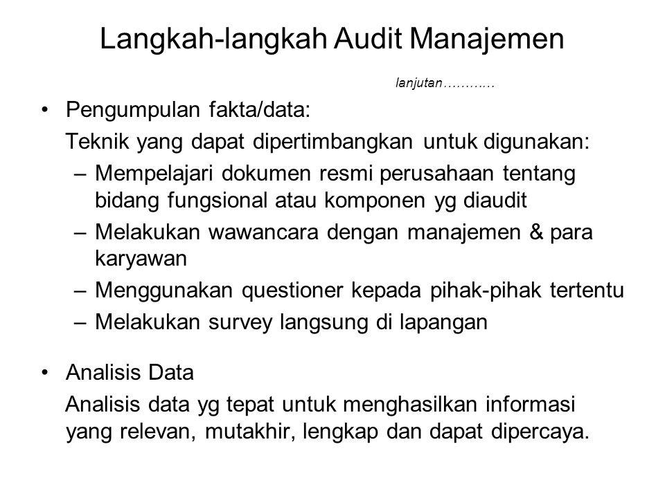 Langkah-langkah Audit Manajemen lanjutan………… Pengumpulan fakta/data: Teknik yang dapat dipertimbangkan untuk digunakan: –Mempelajari dokumen resmi per