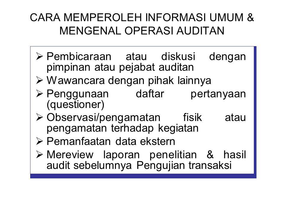 CARA MEMPEROLEH INFORMASI UMUM & MENGENAL OPERASI AUDITAN  Pembicaraan atau diskusi dengan pimpinan atau pejabat auditan  Wawancara dengan pihak lai