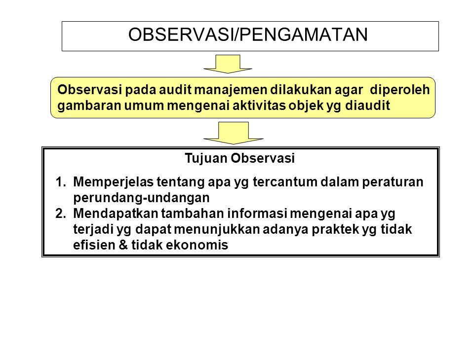 OBSERVASI/PENGAMATAN Observasi pada audit manajemen dilakukan agar diperoleh gambaran umum mengenai aktivitas objek yg diaudit Tujuan Observasi 1.Memp