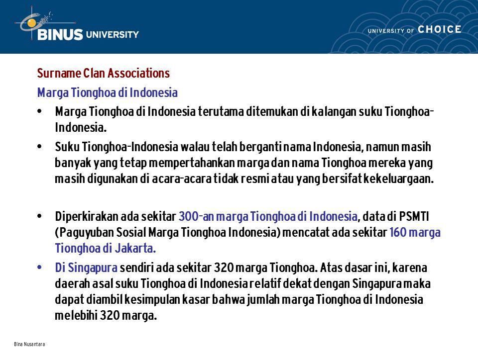 Bina Nusantara Surname Clan Associations Marga Tionghoa di Indonesia Marga Tionghoa di Indonesia terutama ditemukan di kalangan suku Tionghoa- Indonesia.