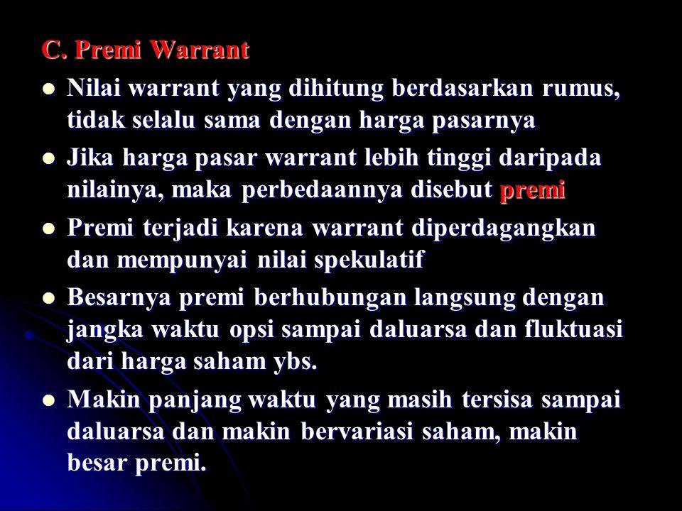 C. Premi Warrant Nilai warrant yang dihitung berdasarkan rumus, tidak selalu sama dengan harga pasarnya Nilai warrant yang dihitung berdasarkan rumus,