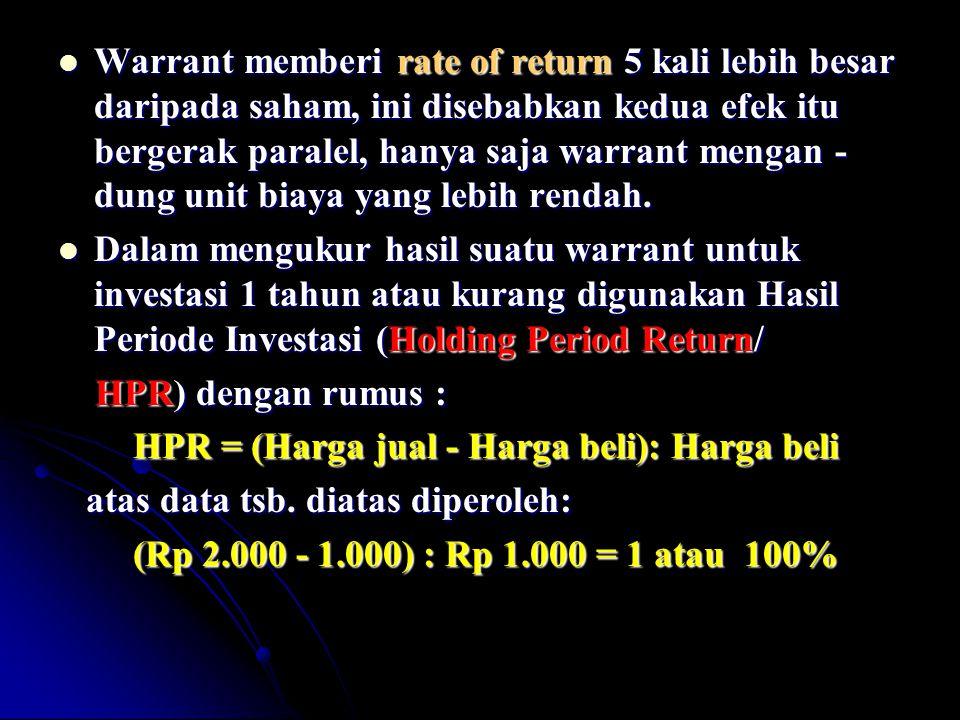 Warrant memberi rate of return 5 kali lebih besar daripada saham, ini disebabkan kedua efek itu bergerak paralel, hanya saja warrant mengan - dung uni