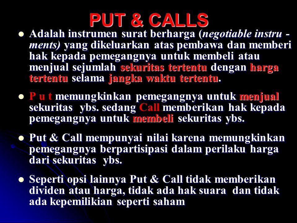 PUT & CALLS Adalah instrumen surat berharga (negotiable instru - ments) yang dikeluarkan atas pembawa dan memberi hak kepada pemegangnya untuk membeli