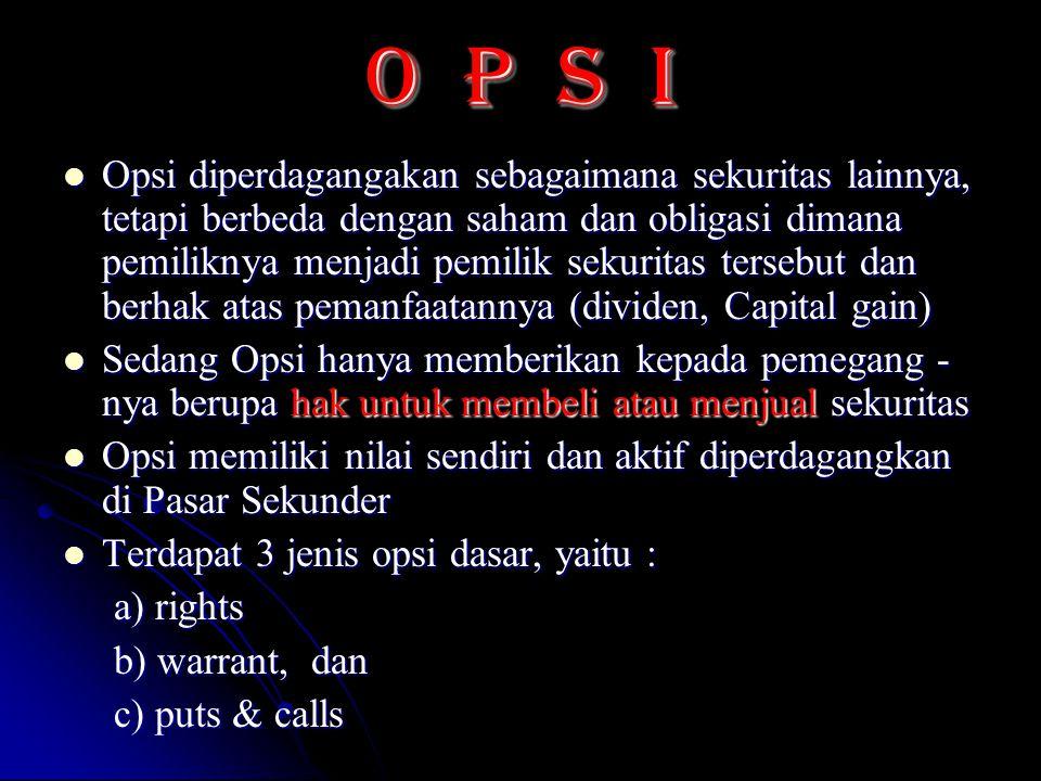 O P S I Opsi diperdagangakan sebagaimana sekuritas lainnya, tetapi berbeda dengan saham dan obligasi dimana pemiliknya menjadi pemilik sekuritas terse