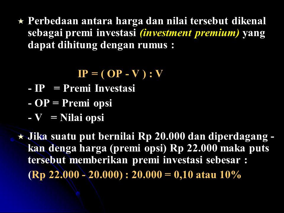 IP = ( OP - V ) : V - IP = Premi Investasi - OP = Premi opsi - V = Nilai opsi   Jika suatu put bernilai Rp 20.000 dan diperdagang - kan denga harga