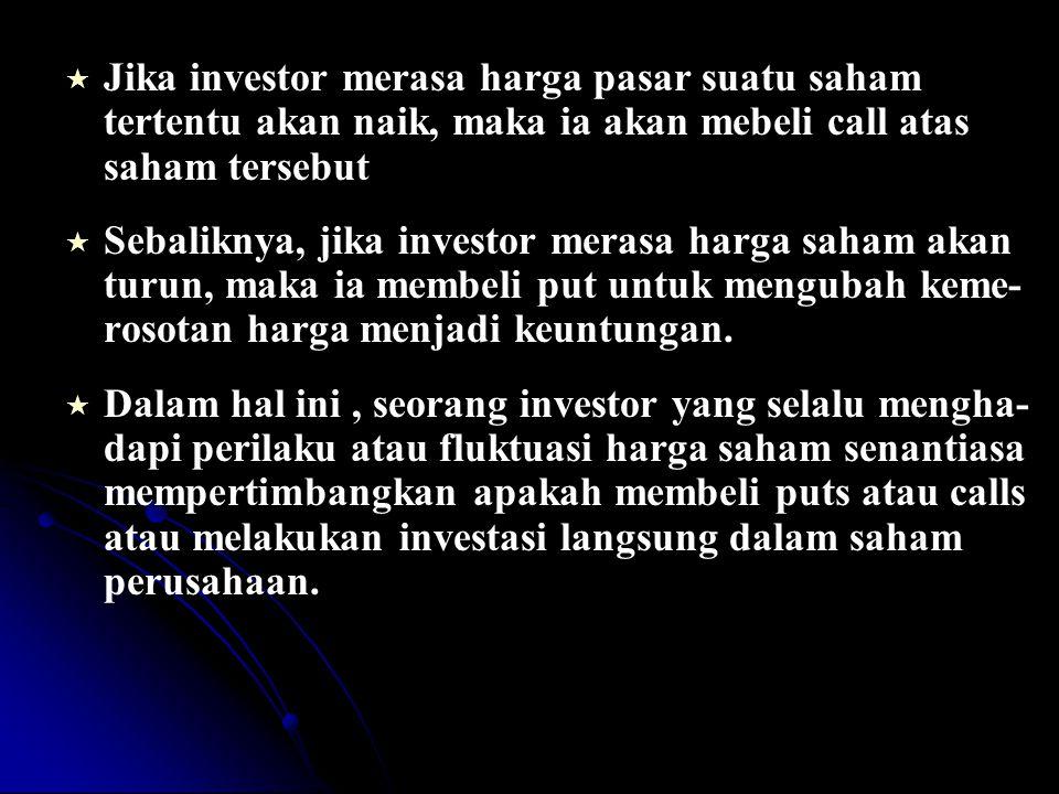   Jika investor merasa harga pasar suatu saham tertentu akan naik, maka ia akan mebeli call atas saham tersebut   Sebaliknya, jika investor merasa