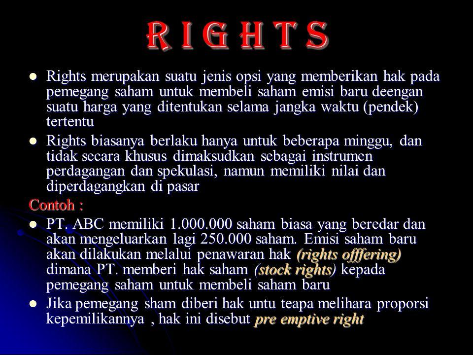 R I g h t s Rights merupakan suatu jenis opsi yang memberikan hak pada pemegang saham untuk membeli saham emisi baru deengan suatu harga yang ditentuk